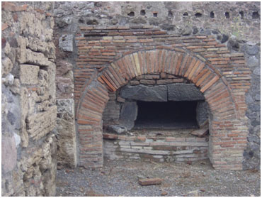 wood burning oven,  ancient Pompei Italy